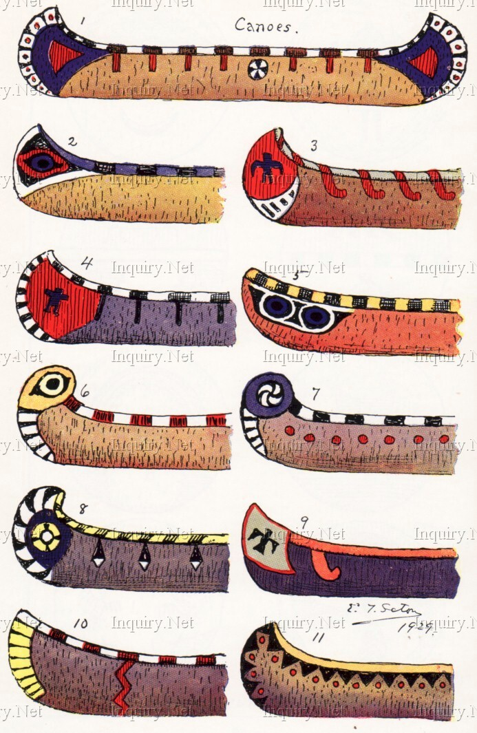 Canoe decoration for American indian design and decoration